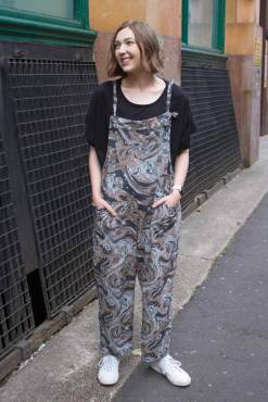 Thunder Egg - Charcoal Marble Jersey Dungarees