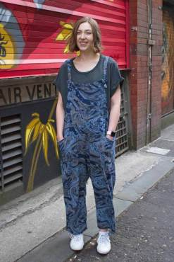 Thunder Egg - Navy Marble Jersey Dungarees