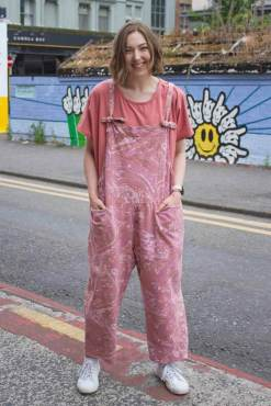 Thunder Egg - Pink Marble Jersey Dungarees