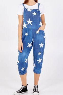 Thunder Egg - Denim Blue Star Print Jersey Dungarees