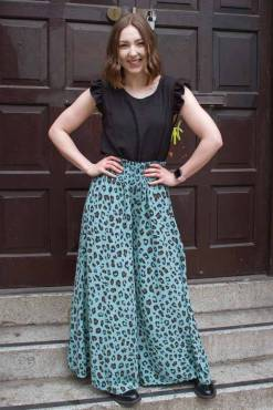 Thunder Egg - Turquoise Leopard Print Palazzo Pants