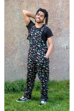 Run & Fly - Unisex Black Rainbow Dinosaur Dungarees