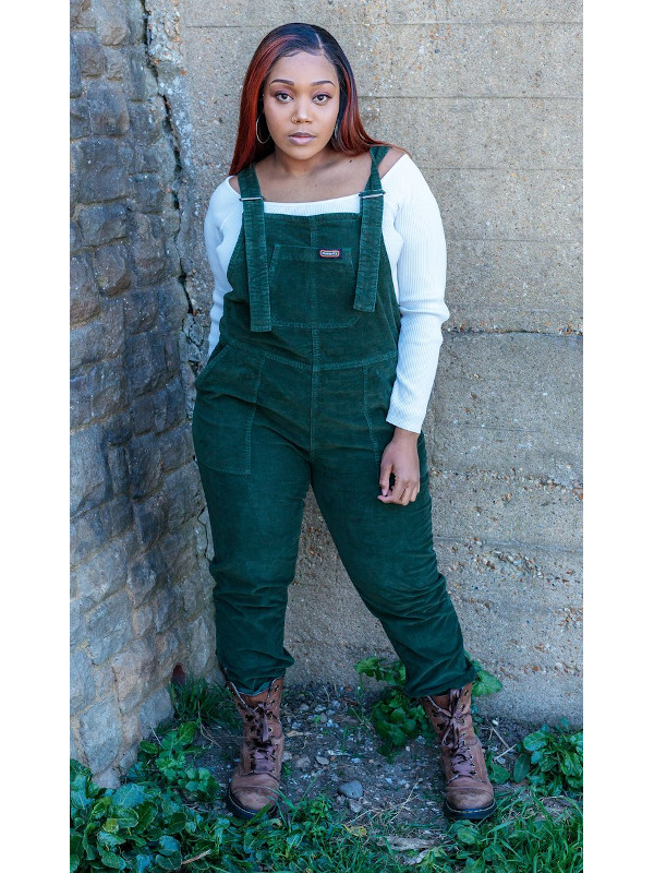 Run & Fly - Forest Green Stretch Corduroy Dungarees