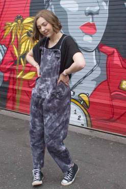 Thunder Egg - Charcoal Grey Ice Dye Jersey Dungarees