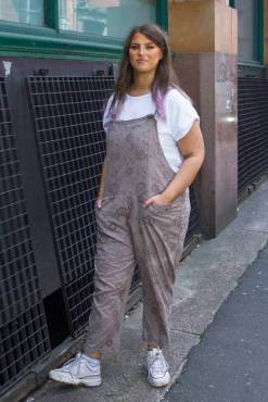 Thunder Egg – Lace Dungarees in Brown