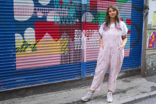 Thunder Egg – Lace Dungarees in Blush Pink