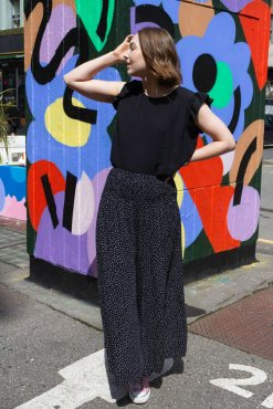 Thunder Egg - Cropped Spot Palazzo Pants in Black