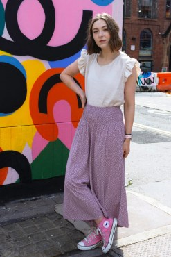 Cropped Spot Palazzo Pants in Mauve