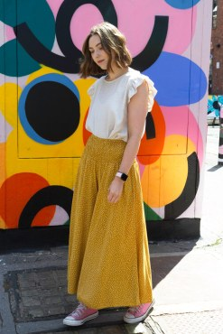 Thunder Egg - Cropped Spot Palazzo Pants in Mustard