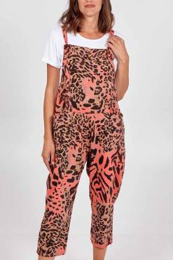 Thunder Egg - Animal Print Jersey Dungarees in Coral