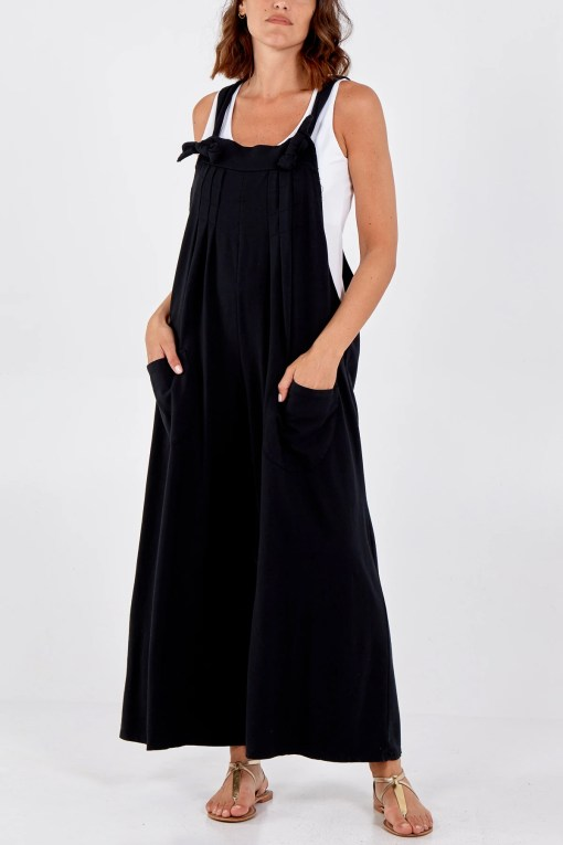 Thunder Egg - Pleated Wide Leg Jersey Dungarees in Black