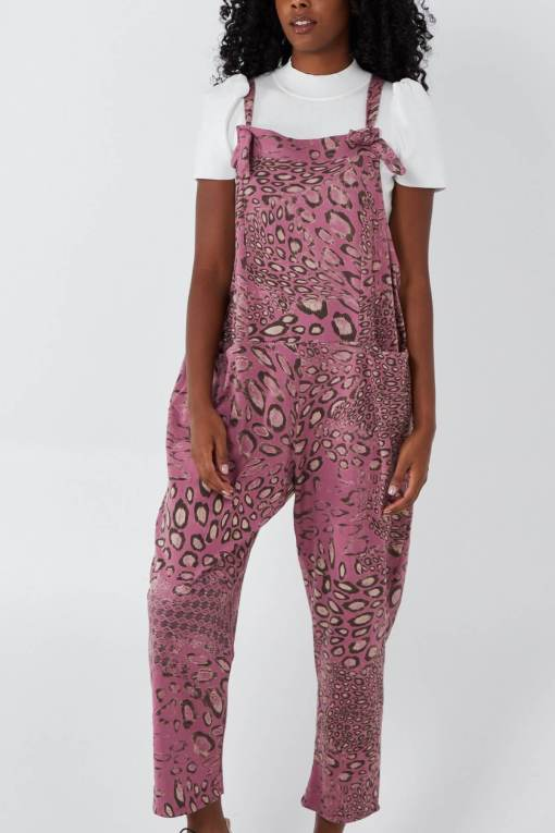 Thunder Egg - Mixed Animal Print Jersey Dungarees in Rose
