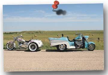 Trikin': Boss Hoss '57 Chevy and Ridley Auto-Glide |