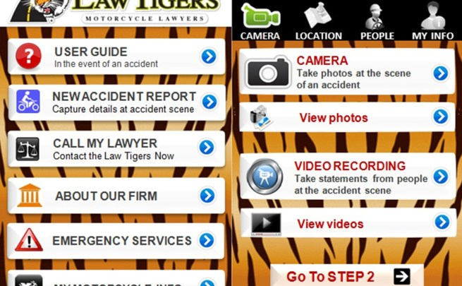Screen shot of the new Law Tigers mobile application