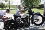 Paul Ousey loading his '26 H-D on the trailer