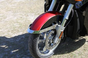 """The Tour's inverted front end sports a new chrome """"bumper"""" to guard the fender"""