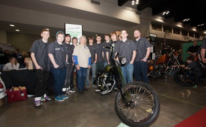The La Crescent-Hokah High School Chopper Class shows off their build with Donnie Smith