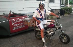 Bean're, the Mayor of Fun, on his minibike
