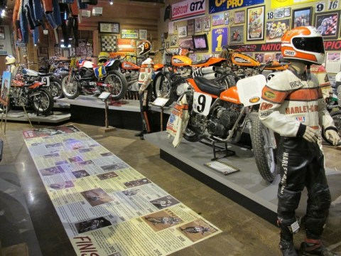The Dirt Track Heroes Exhibit featured worn leathers, assorted race bikes and personal stories of the legends of motorcycle racing