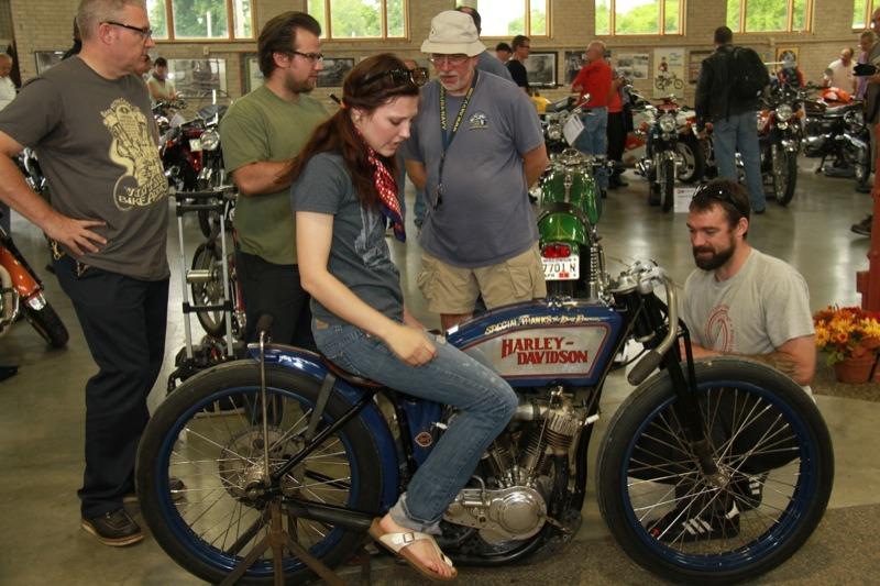 Antique flat track racer Brittney Olsen showing the custom fit on her 1923 Harley-Davidson
