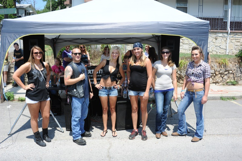 """Daniel, a.k.a. """"Nobody,"""" introduces the Miss Bikers & Babes contestants (from left): Janell. Tamara, Bethany, Katie and Montana"""