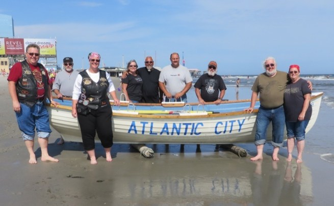 From left: Kevin Kohler, Don Demartyn, June Mansberger, Carol and Mike Sunderland, Daryl Fogal, Dave Knerr and Bill and Dawn Tull make their first stop on the shores of Atlantic City
