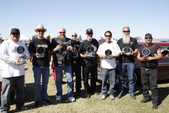 Bike show winners display their custom-made trophies