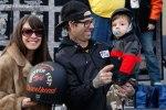 "Scott ""T Bone"" Jones of Noise Cycles and his son accept the Best Shovelhead award from Jennifer Santolucito"