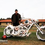 """White Mike from Orangevale Choppers took 1st in the Radical Design class with the """"Flying Eyeball"""""""