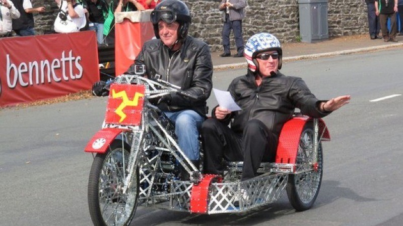 James May and Oz Clarke ride the Meccano bike at Manx Grand Prix