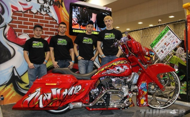 Students from Sturgis Brown High School with the 2014 Street Glide Legends Ride auction bike