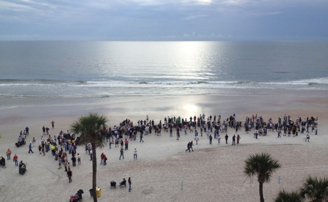 2014 Motorcycle Cannonball taking off from Daytona Beach
