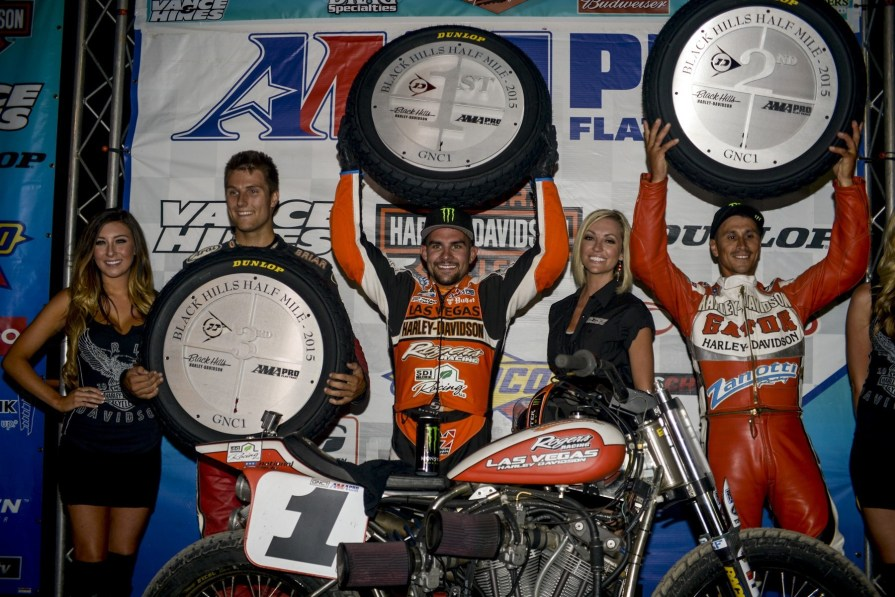 (L.–r.) Briar Bauman (third place), Jared Mees (first place), Kenny Coolbeth Jr. (second place)