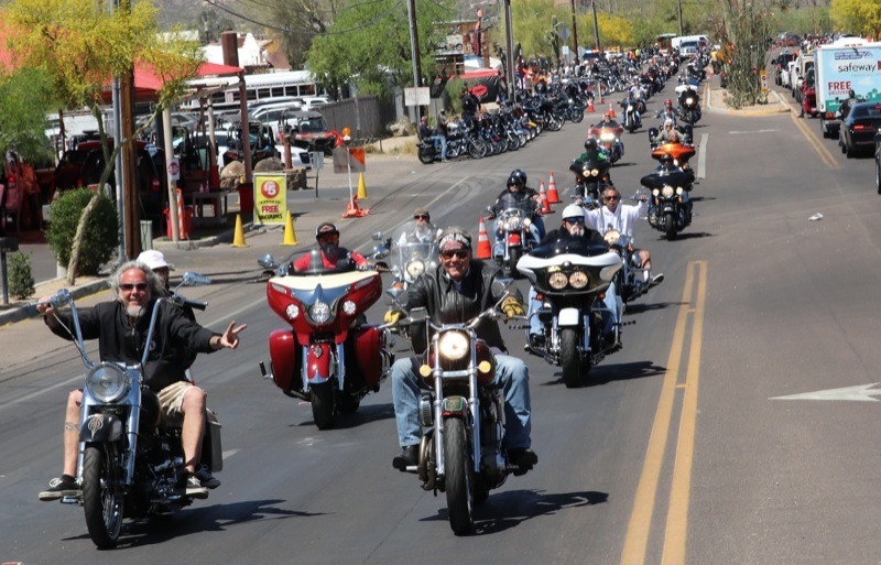The annual Gypsy Tour ride is led out of town by Mark Bradshaw (l.) and his buddy, the notorious Jay Allen (r.)