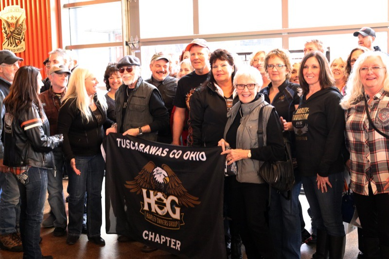 Willie G. and Nancy Davidson happily greeted Ohio visitors to the Harley-Davidson Museum and the on-site restaurant, MOTOR