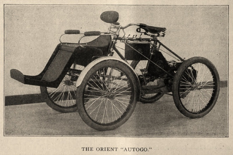 The Orient tricycle converted into the Autogo of 1900. It was virtually identical to the 1900 Canda Quadracycle made in Newark, NJ and the Regas from Rochester, NY. The Indian version didn't appear until 1906.