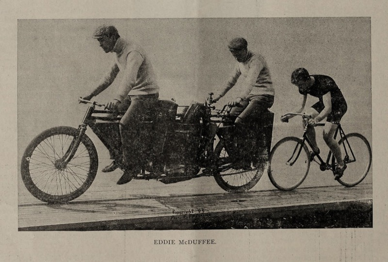 A pacer at the Springfield Colosseum in 1900.  Note the size of that motorcycle.