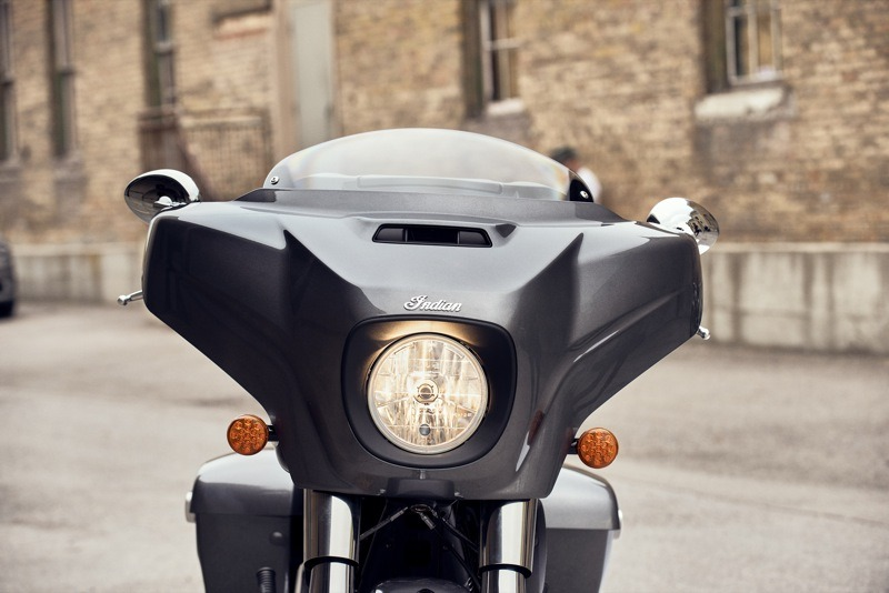 The restyled fairing and saddlebags are more angular and aggressive on the 2019 Indian Chieftain (above), Chieftain Dark Horse and Chieftain Limited (below)