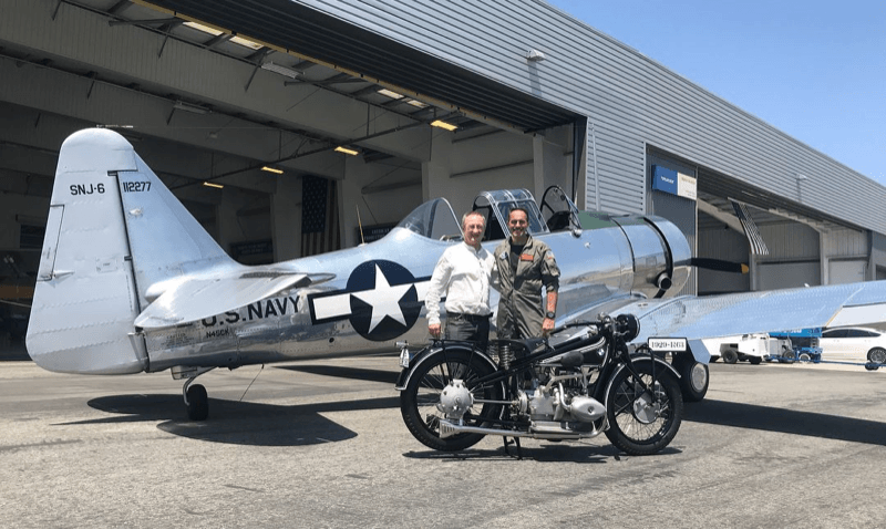 Winner Eugene Garcin with his restored 1929 BMW R63 and Lyon Air Museum President Mark Foster with the Lyon Air Museum's AT-6 Texan World War II Trainer