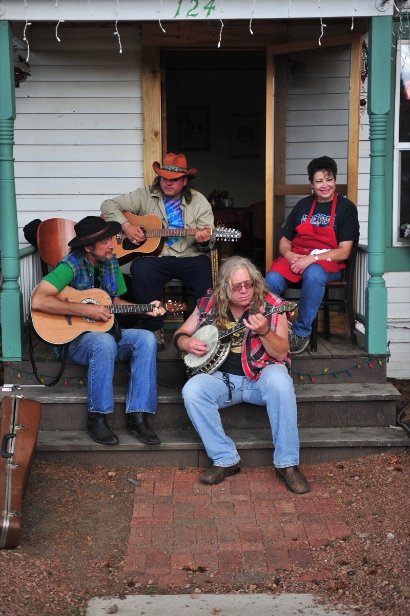 Local Cripple Creek pickers turned a porch into a stage during the weekend-long rally