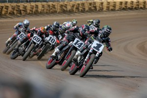 The Springfield Mile, where it's always close. Jared Mees (1) and Briar Bauman (14) lead the way…