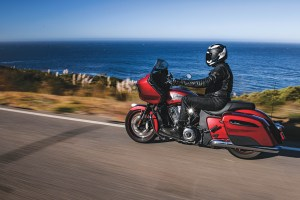The 2020 Indian Challenger is an all-new bagger platform featuring the liquid-cooled PowerPlus 108 V-twin. This particular model shown cruising down California's Highway 1 is the 2020 Challenger Limited.