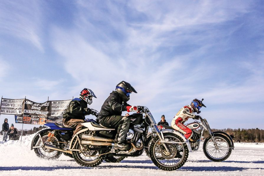 The hooligan class of Harleys take to the ice at the AMA-sanctioned High Voltage Motorcycle Ice Races.
