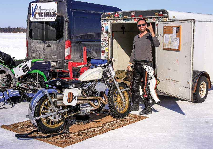 Eric Schuelke and his 1996 Sportster. Schuelke is new to racing and was inspired to join the sport after watching hooligan racing at Mama Tried.