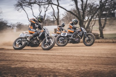 Harley-Davidson Factory Flat Track Team Dalton Gauthier, Bryan Smith, and Jarod Vanderkooi race into the American Flat Track Supertwins