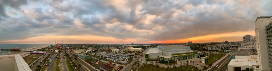 A panoramic view of Daytona Beach from atop the Hilton hotel at Daytona Bike Week 2020.