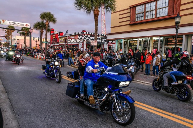 Daytona Bike Week 2020 bikers cruise Atlantic Avenue and Main Street