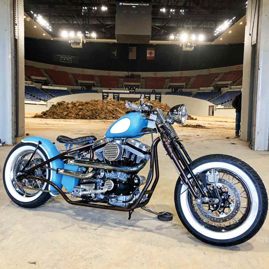 This hardtail Sportster was built by author Ricky Bongos in the space of a month and features parts from USA Parts Co., which offers 100% made in the USA motorcycle products. Bongos stayed up all night finishing the build, had 15 hours to drive from Las Vegas to Portland, and loaded in just 15 minutes before the doors opened.