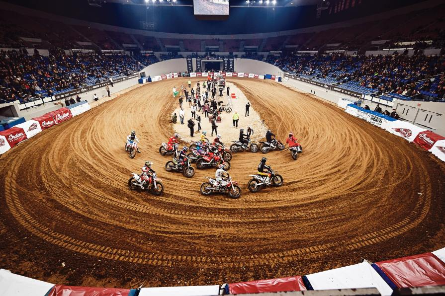 Located in the center of the Coliseum, the dirt oval attracted flat track professionals and Hooligan riders from around the country, including Sammy Halbert, Davis Fisher, Andy Dobrino and David Kohlstaedt.