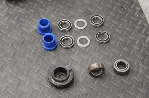 The Sta-Bo replacement parts (above), versus the worn-out OEM pieces